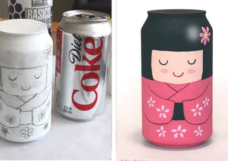 Geisha hecha con una lata de refresco
