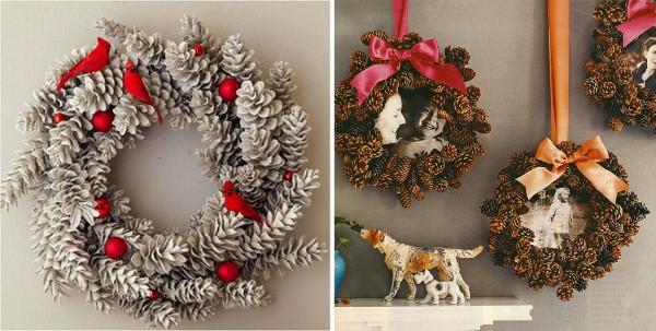 Coronas de navidad decorativas hechas con piñas