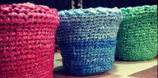 Ideas para reciclar bolsas cestos