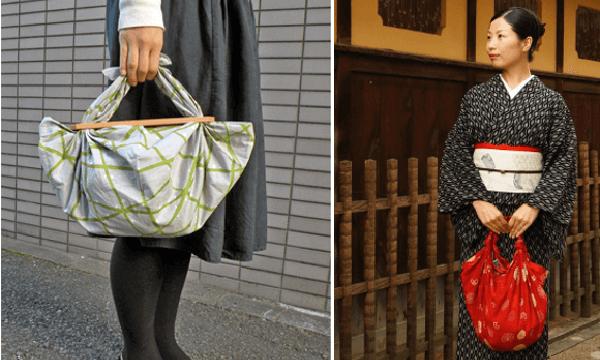 Bolsos furoshiki hechos con panuelos