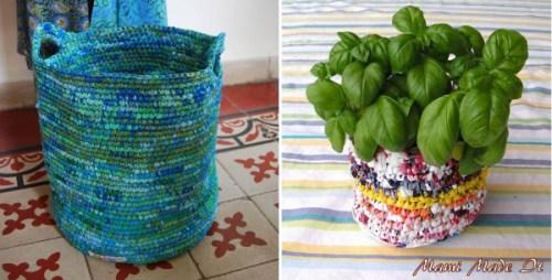 Cestos tejidos con bolsas recicladas