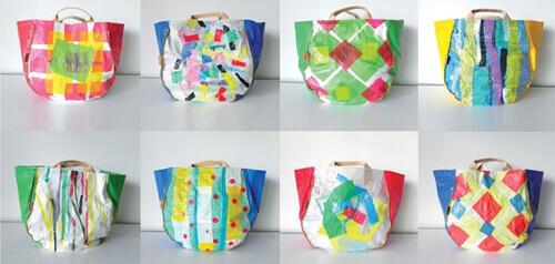 Bolsas hechas con tecnica de reciclaje termofundido