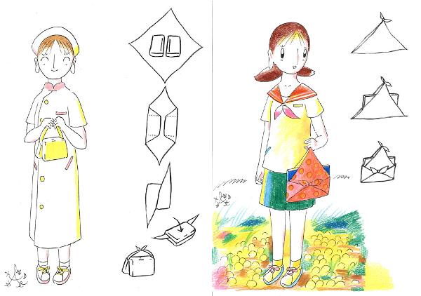 Bolsos furoshiki dibujos para hacer bolsos simples