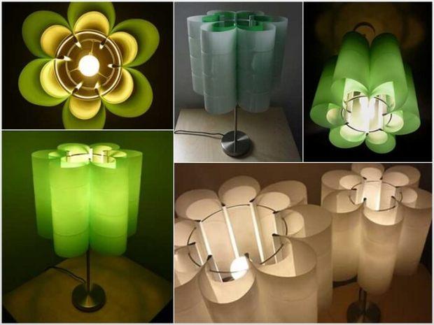 Botellas de plástico recicladas lámparas con forma de flor