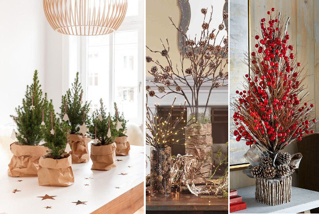 Navidad natural ideas para decorar con materiales frescos for Arboles decorativos para jardin