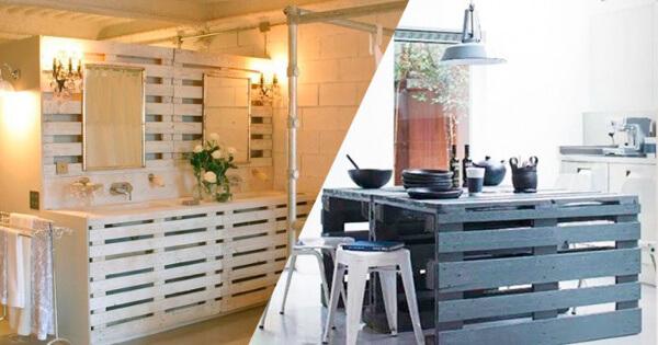muebles con palets mesada para el bao y mesada para la cocina