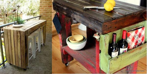 mesa para el balcn y mesada de palets reciclados