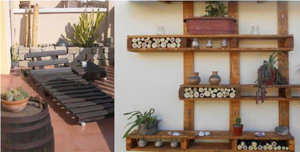 reposera y estantera de jardn hechas con palets