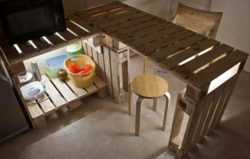 muebles con palets mesada y bajo mesada para la cocina - Muebles Palets