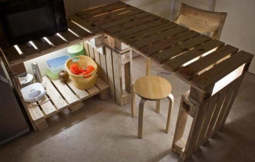 muebles con palets mesada y bajo mesada para la cocina