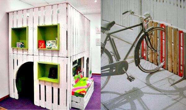 Casa para jugar y estacionamiento de bicicletas con palets