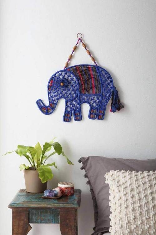 Ideas para decorar con macramé elefante artesanal para decorar la pared
