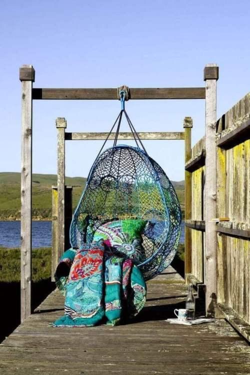 Ideas para decorar con macramé hamaca artesanal de colores