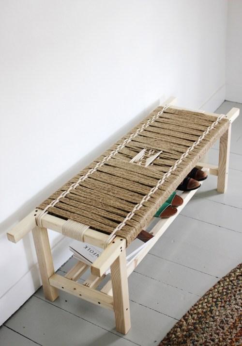 Retapizar muebles con hilo sisal banqueta reciclada