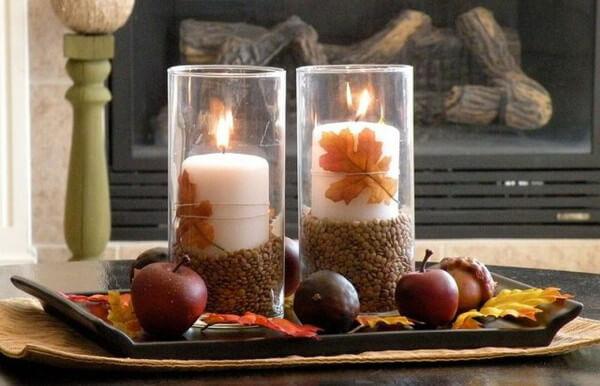 Candelabros naturales para decorar en otoño