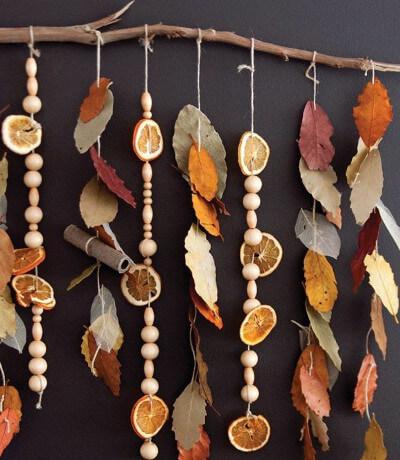 Moviles de hojas para decorar en otoño