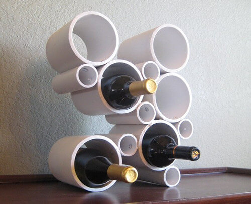 Idea para hacer portavinos con tubos