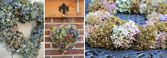 Shabby decoración adornos con hortensias