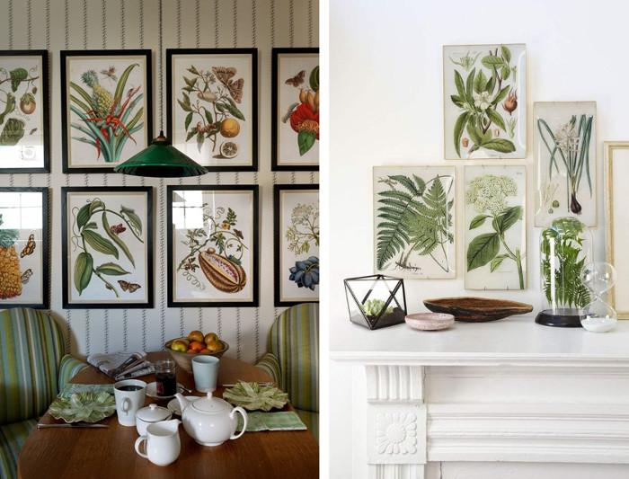 Decoración con láminas de plantas