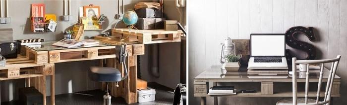 Modelos de escritorios con palets y vidrio