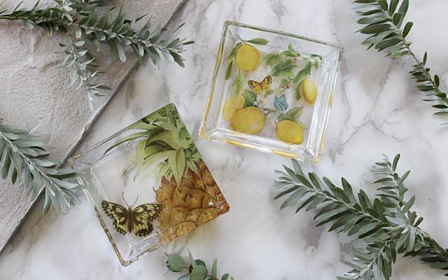 Decoupage sobre vidrio vitrificado