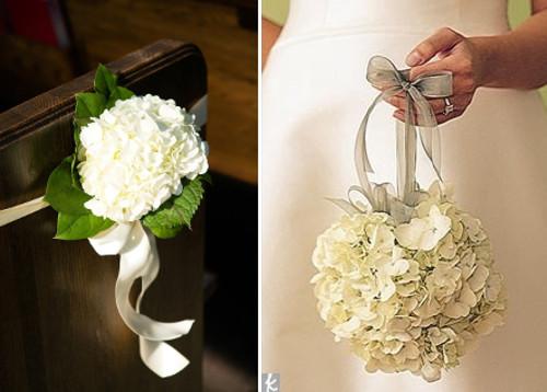 Decoraciones de boda con hortensias