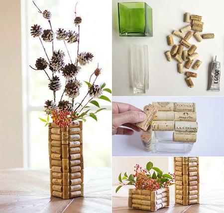 Crea un florero con corchos de vino