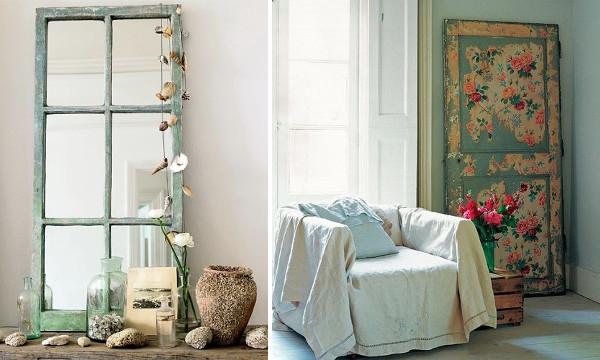 Decoraci n retro vintage con puertas y ventanas reciclaje shabby diario artesanal - Tipos de espejos decorativos ...