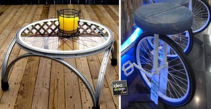 Muebles ideas para reciclar aros de bicicletas