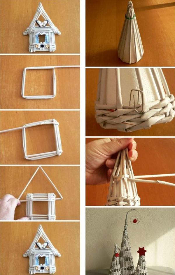 Adornos navide os de papel peri dico tejido tutoriales Adornos metalicos para pared