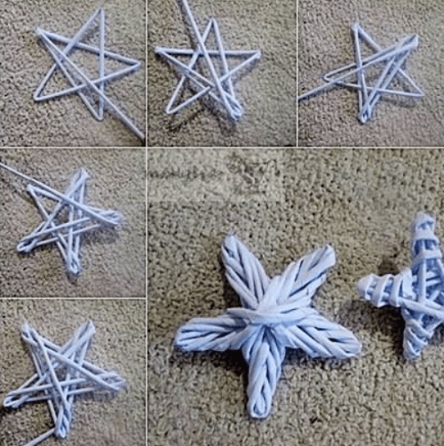 Estrella de navidad con reciclaje de papel