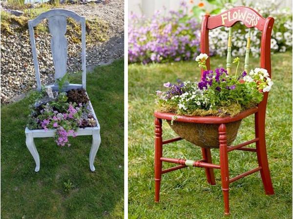 Reciclar una silla y hacer un macetero de jardín