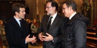 Casado junto a Rajoy y Feijóo en el funeral del padre de Rajoy/ El progreso de Lugo