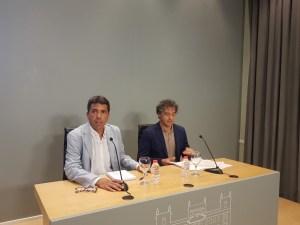 Mazón y Colomer durante la rueda de prensa / Alex Ferrer