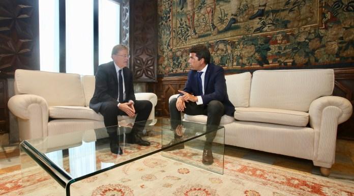 Carlos Mazón durante su reunión con Ximo Puig