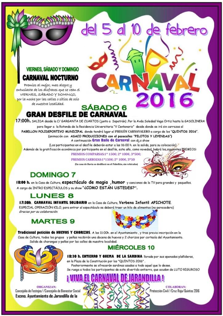 Programa Completo del Carnaval de Jarandilla de la Vera 2016