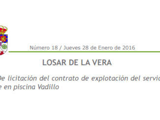 Licitación del contrato de explotación del servicio de Bar Restaurante en piscina Vadillo