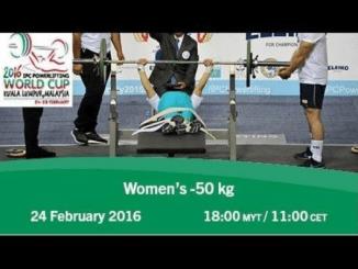 Loida Zabala en el Women's -50 kg | 2016 IPC Powerlifting World Cup Kuala Lumpur