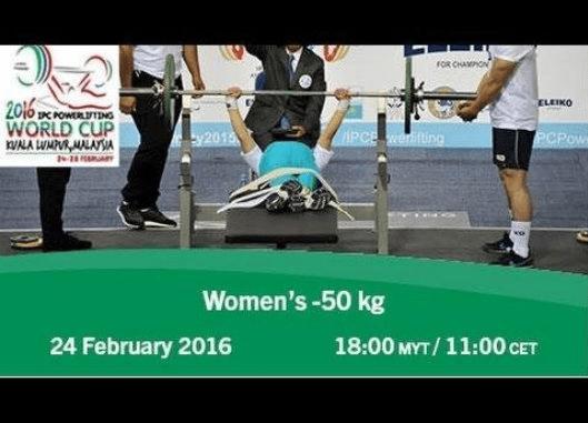 Loida Zabala en el Women's -50 kg   2016 IPC Powerlifting World Cup Kuala Lumpur
