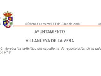 Aprobación definitiva del expediente de reparcelación de la unidad de ejecución Nº 9