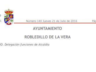 Delegación funciones de Alcaldía en Robledillo de la Vera