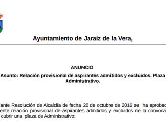 Relación provisional de aspirantes admitidos y excluidos. Plaza Administrativo