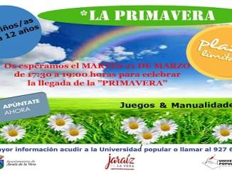 Taller de la Primavera el martes 21 de Marzo en la Universidad Popular de Jaraíz