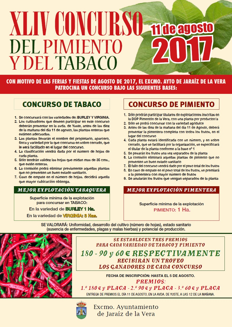 XLIV Concurso del Pimiento y del Tabaco de las Ferias y Fiestas de Agosto 2017