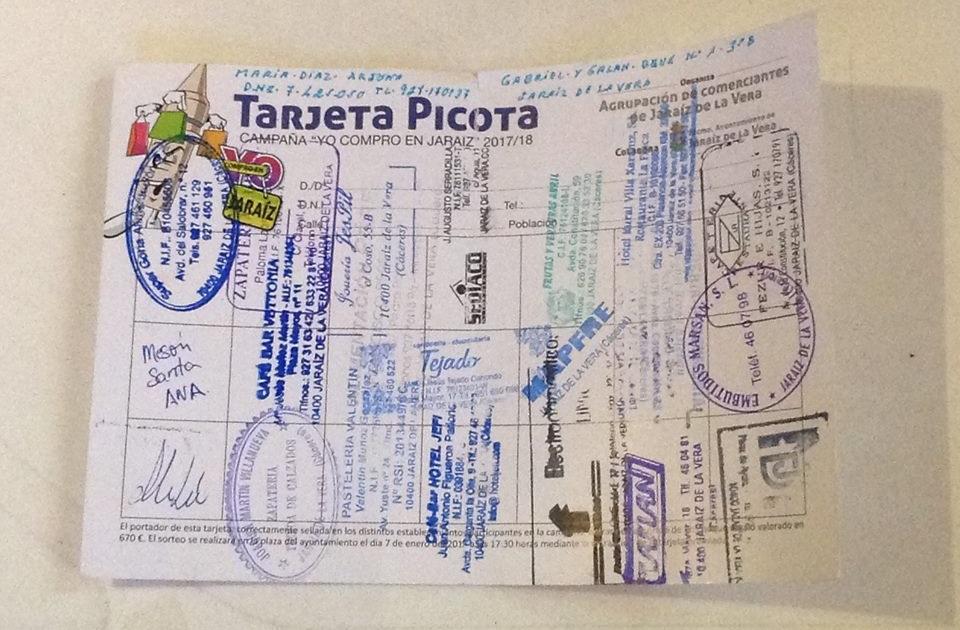 Tarjeta Picota 2017 completada