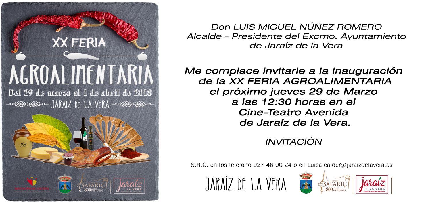 Invitación Oficial de la XX Feria Agroalimentaria Comarca de la Vera