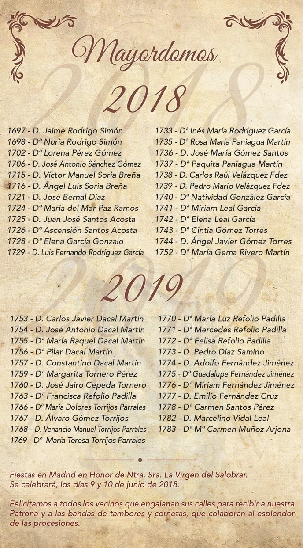 Mayordomos 2018 - 2019 Ntra. Sra. del Salobrar - Patrona de Jaraíz de la Vera