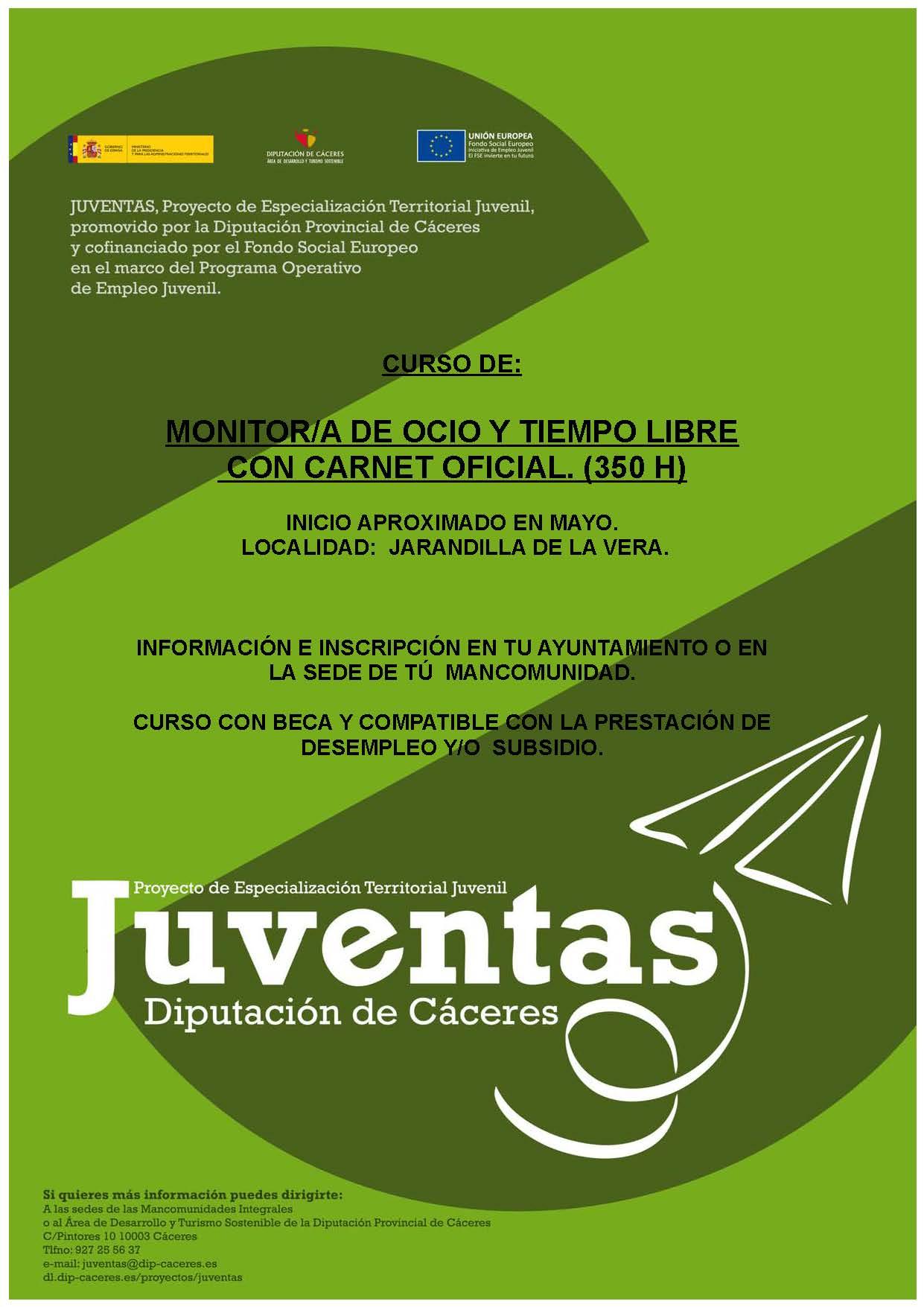 Plazas libres para el curso de Monitor de Ocio y Tiempo Libre que comienza hoy en Jarandilla de la Vera