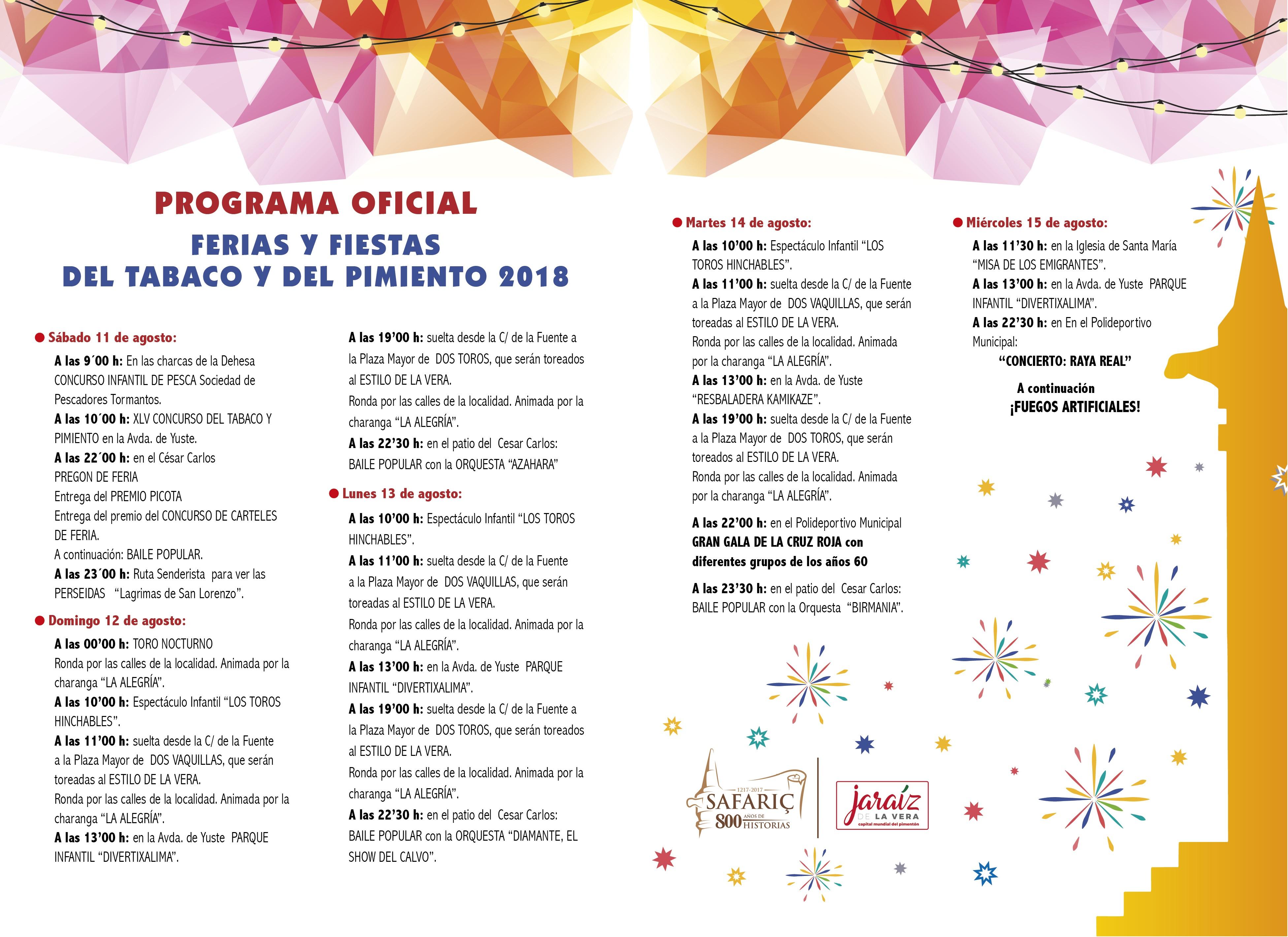 Programa Fiestas del Tabaco y del Pimiento de Jaraíz de la Vera 2018
