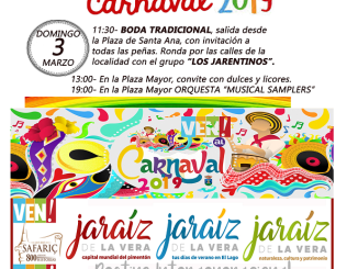 Programación del Carnaval de Jaraíz de la Vera para hoy domingo 3 de marzo del 2019